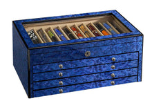 Load image into Gallery viewer, Venlo Blue 60 Sixty Pen Pencil Box Case Holder Trunk Beveled Glass Italian Maple Burlwood - Closed View