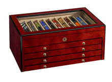 Load image into Gallery viewer, Venlo Triple Burlwood Sixty Pen Case Closed - PensAndLeather