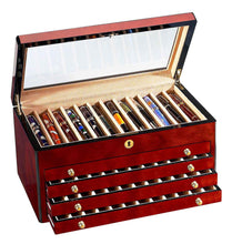 Load image into Gallery viewer, Venlo Triple Burlwood Sixty Pen Case Open - PensAndLeather