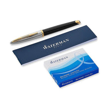 Load image into Gallery viewer, Waterman Carene Deluxe Black Lacquer/Silver Fine Point Fountain Pen with Ink Cartridges and Manual