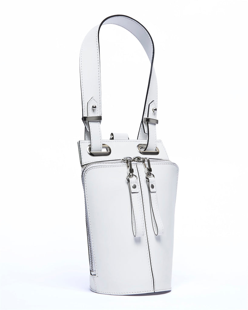 Small white leather tote