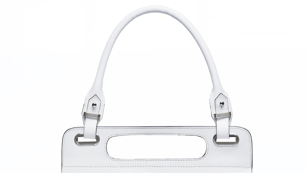 White leather messenger bag with top handle