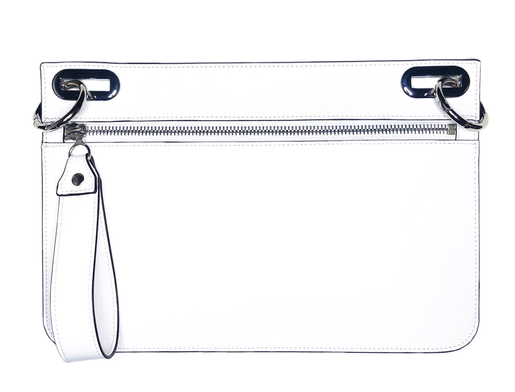 Small White Purse with Silver zipper and hardware.