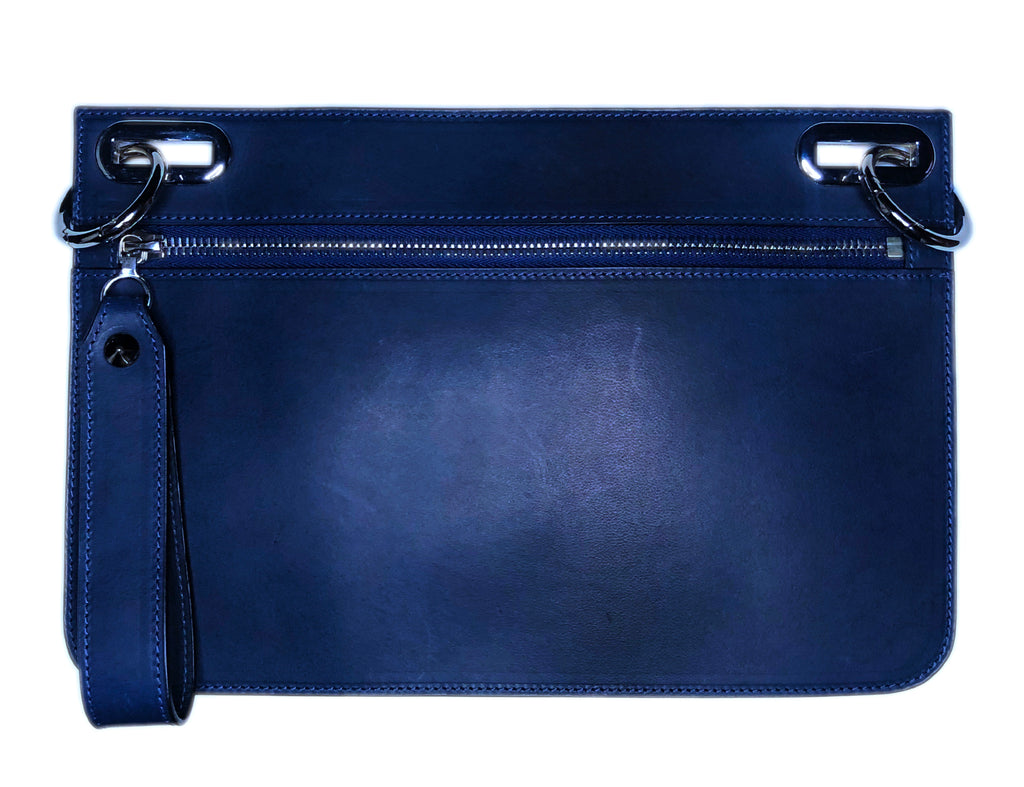 Blue leather pouch with zipper