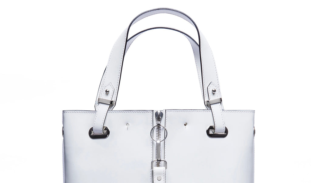 White leather tote bag silver hardware