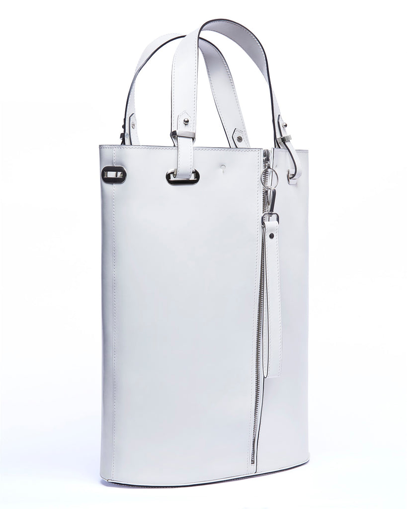 Large white leather tote bag