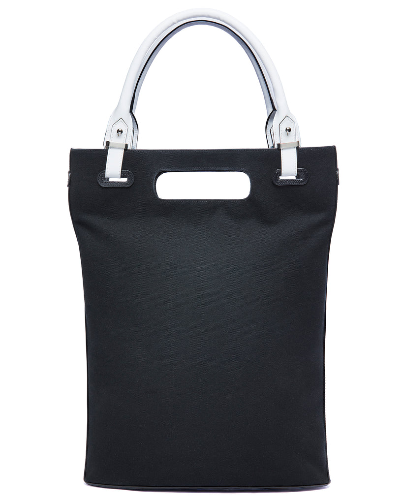 Black canvas tote bag With rolled handles