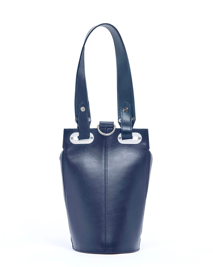 Blue leather top handle bag