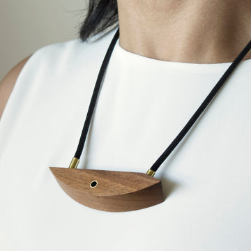Walnut and Brass Necklace
