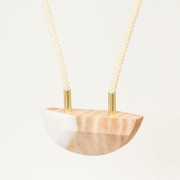 White, Maple and Brass Necklace