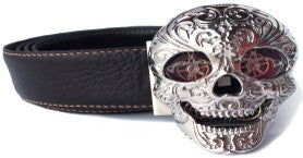 "BSK-SS99 TF ""Skull"" Belt - Stainless Steel and Leather"