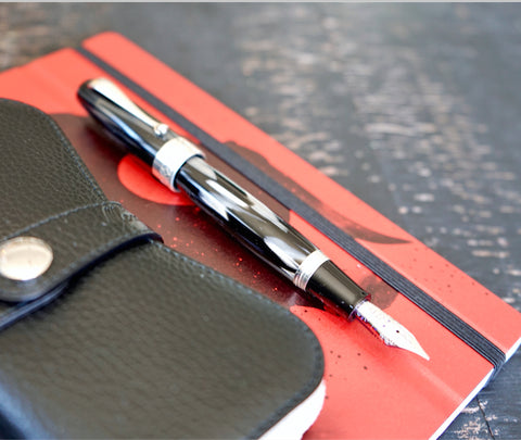 Montegrappa Miya 450 - Black Fountain Pen and Leather Case
