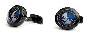 "CG-PB99 - TF ""Globe"" Cufflink - PVD Black, rotating earth ball"