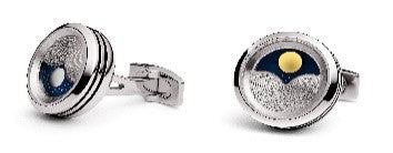 "CP-SS99 TF Cufflink - "" Planet"" Stainless Steel, rotating sun & moon"