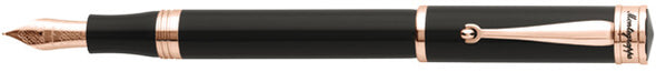 Montegrappa - Ducale Black & Rose Gold Fountain Pen - Fine