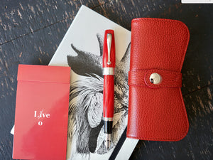 Montegrappa Miya 450 Red Fountain Pen and Leather Case