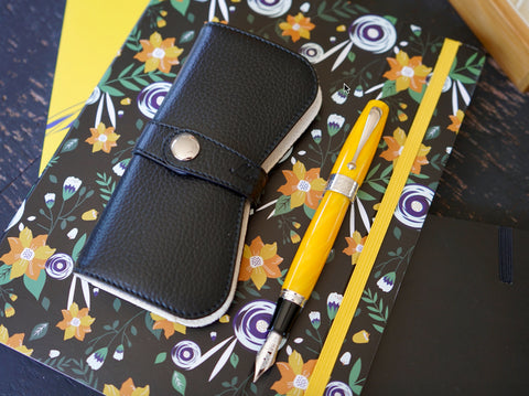 Montegrappa Miya 450 - Yellow Fountain Pen and Leather Case