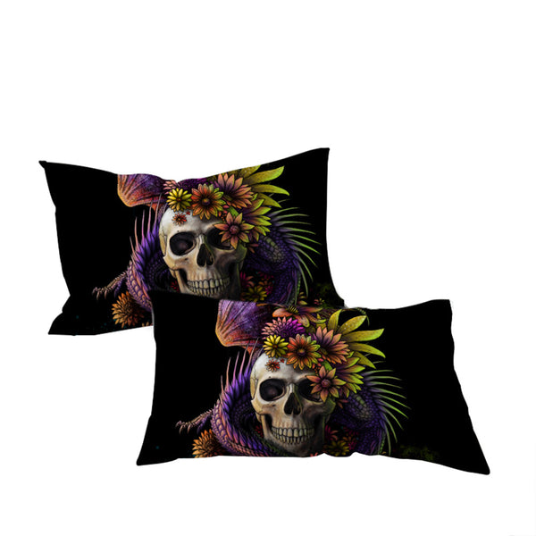 Flowery Skull by SunimaArt Pillowcase Purple Flower Pillow Case Monster Floral Bedding Microfiber Pillow Cover 2pc - Home Decor and Kitchen