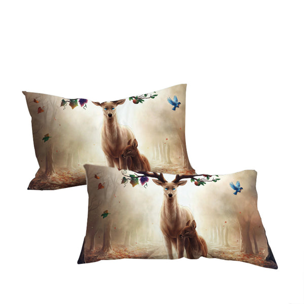 Seasons Change by JoJosArt Pillowcase Floral Deer Pillow Case  Bedding Home Textiles Microfiber Pillow Cover 2pcs - Home Decor and Kitchen
