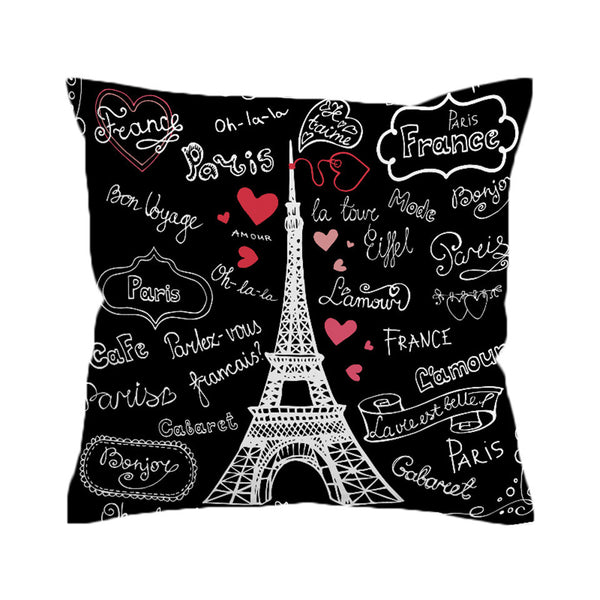 BeddingOutlet France Paris Tower Cushion Cover Romantic Letters Pillow Case Throw Cover Heart Print Pillow Cover - Home Decor and Kitchen