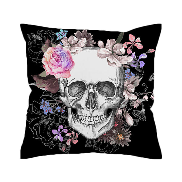 BeddingOutlet Sugar Skull Cushion Cover Floral Pillow Case Roses Flowers Print Throw Cover for Sofa Pillow Covers - Home Decor and Kitchen