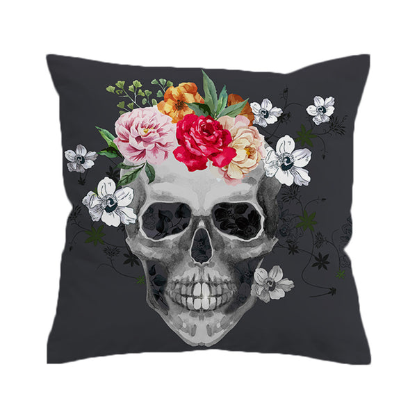 BeddingOutlet Sugar Skull Cushion Cover Floral Pillow Case Throw Cover for Sofa Decorative Pillow Covers - Home Decor and Kitchen