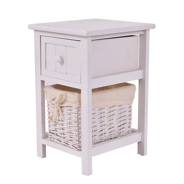 Wooden Small 2-Layer Bedside End Table - Home Decor and Kitchen