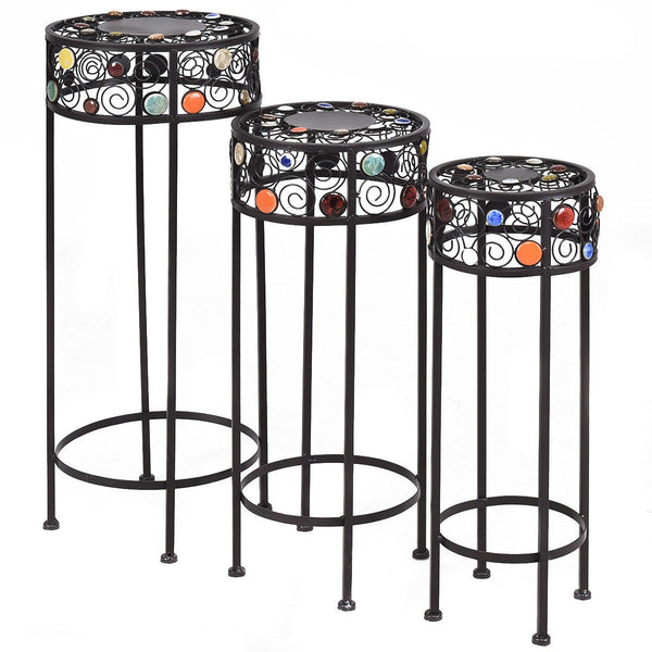 3 pcs Round Display Ceramic Beads Metal Plant Stand - Home Decor and Kitchen