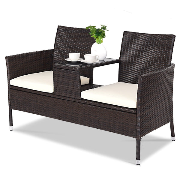Outdoor Patio Rattan Cushioned Chat Set - Home Decor and Kitchen