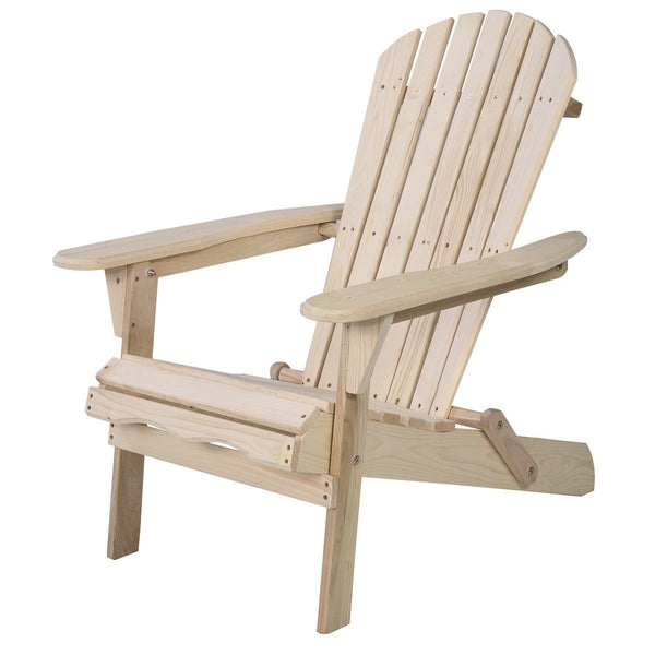 Outdoor Foldable Fir Wood Adirondack Chair - Home Decor and Kitchen