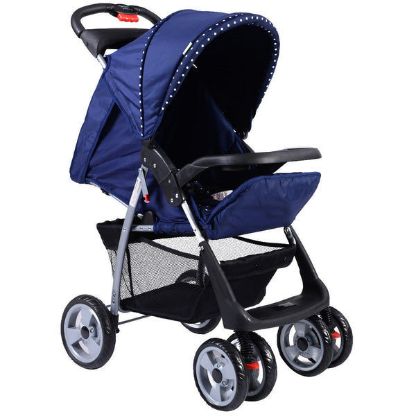 Foldable Baby Kids Travel Stroller Newborn Infant Buggy Pushchair Child 3 color-Blue - Home Decor and Kitchen