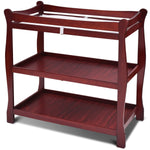 Sleigh Style Baby Changing Table Infant Newborn Nursery Diaper Station-Cherry - Home Decor and Kitchen