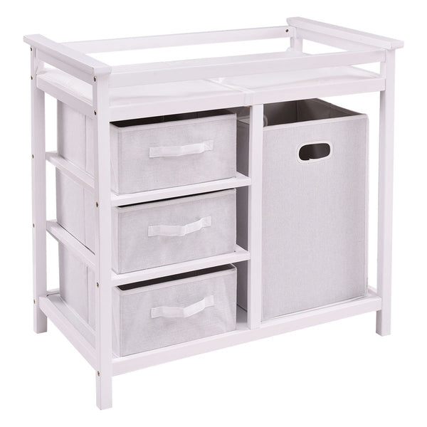 Infant Baby Changing Table w/3 Basket Hamper Diaper Storage Nursery-White - Home Decor and Kitchen