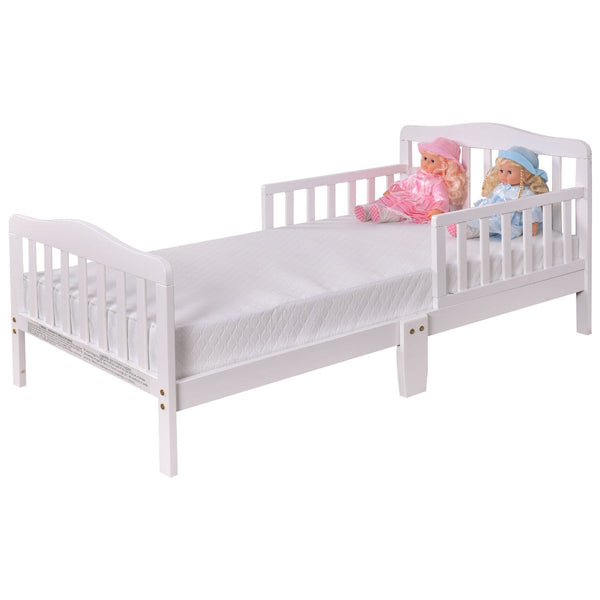 Baby Toddler Wooden Bed with Safety Rails-White - Home Decor and Kitchen