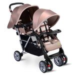 Foldable Twin Baby Double Stroller Kids Jogger Travel Infant Pushchair 3 color-Beige - Home Decor and Kitchen