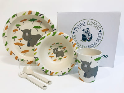 Bamboo dinner set - Ruandi the Rhino - Mama Bamboo