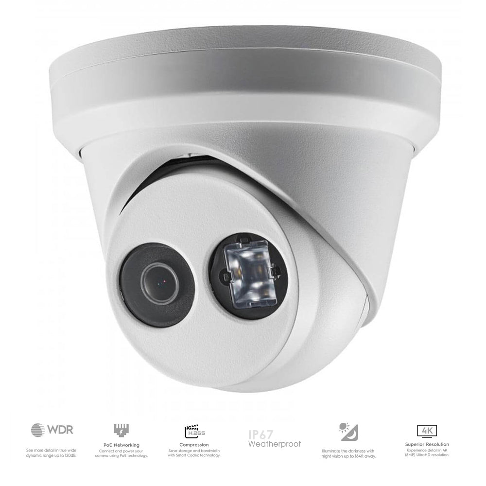 4K 8MP Turret IP PoE Camera 2.8mm Fixed Lens | 98' IR Range | Outdoor Rated