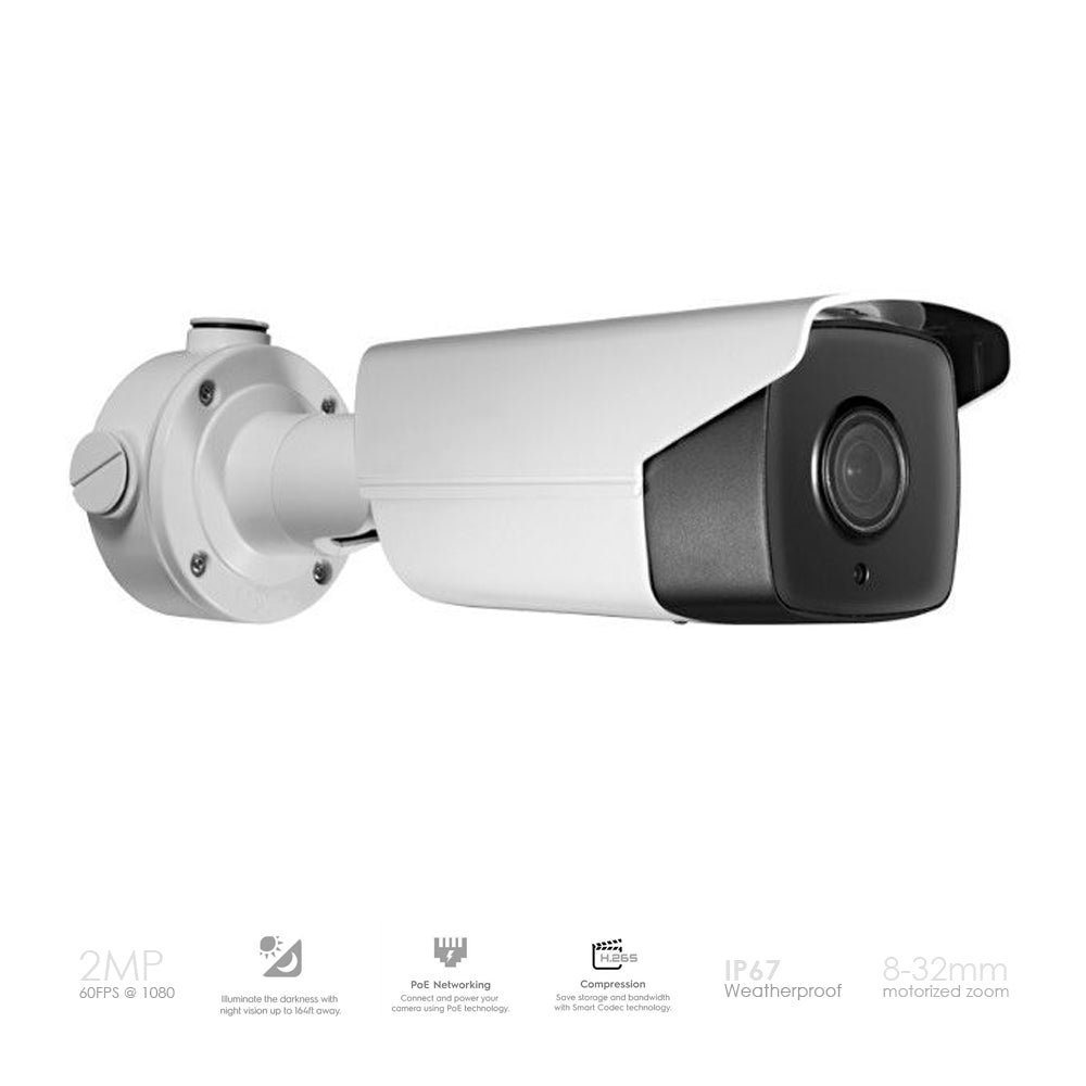 2MP (1080P) License Plate Recognition Bullet (LPR) IP PoE camera 8-32mm Motorized Lens