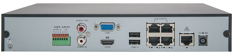 Uniview NVR301-04-P4 4Channel 4k NVR with Built in PoE ports | 1 SATA | H.265 | Mobile Viewing Capability | ONVIF