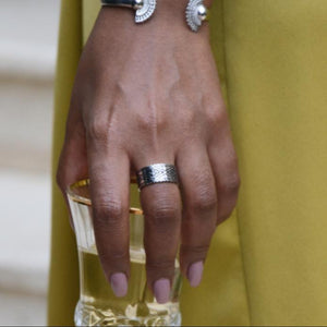 A Model Wearing Yenaé Rhodium Plated Dorze Tibeb Ring