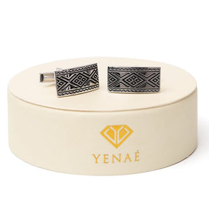 Yenaé Rhodium Plated Dorze Tibeb Cufflink Displayed on package.