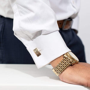 Yenaé 14K Gold Plated Dorze Tibeb cufflink worn by a model.
