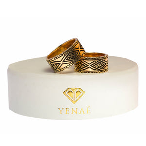 Yenaé 14K Gold Plated Dorze Tibeb Ring Displayed on a Gift-ready Package Cover