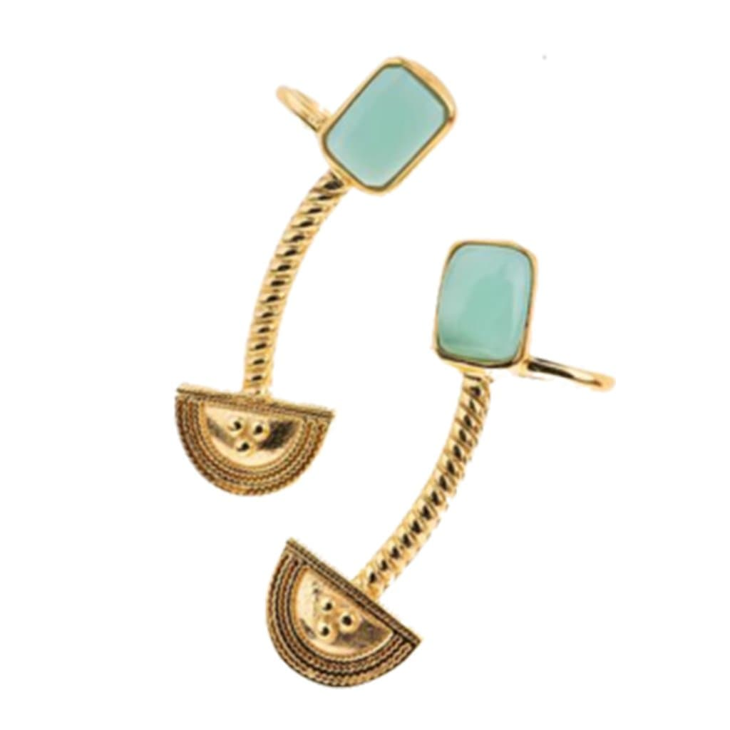 Yenaé Jewelry Collection 14 carat gold plated semi-precious Teslom chrysoprase crawler displayed