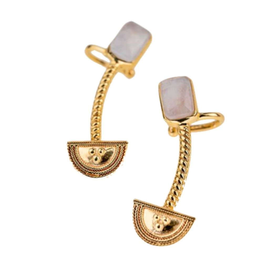 Yenaé Jewelry Collection 14 carat gold plated semi-precious quartz gemstone Teslom Crawler Earring displayed.