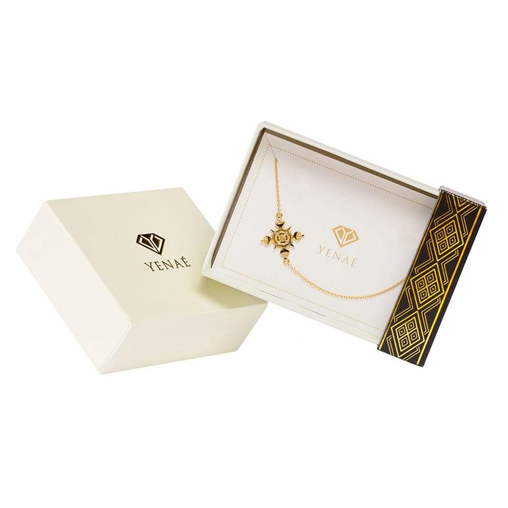 Yenaé 14K Gold Plated Lalibela Cross Necklace in a Gift-ready Package