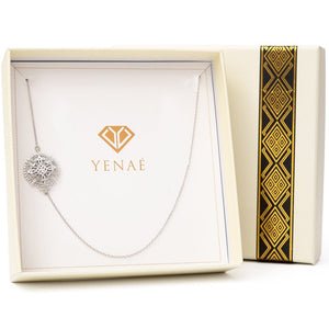 Yenaé Rhodium Plated Axum Cross Necklace in a Gift-ready Package