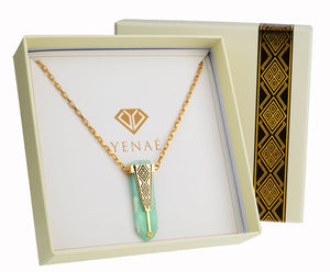 Yenaé Jewelry Collection 14 carat gold plated semi-precious gemstone Woriro chrysoprase necklace in a gift ready package.