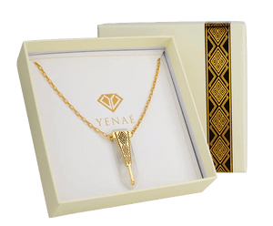 Yenaé Jewelry Collection 14 carat gold plated  semi-precious gemstone Woriro quartz necklace in a gift ready package.