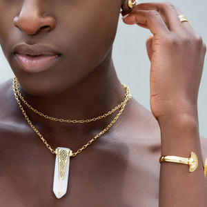 Yenaé Jewelry Collection 14 carat gold plated  semi-precious gemstone Woriro quartz necklace worn by a model.